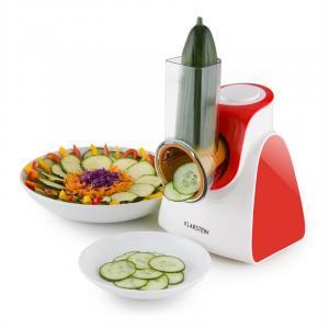 Carrot & Rock Salatschneider Gemüsehobel Reibe 150W 5 Aufsätze rot