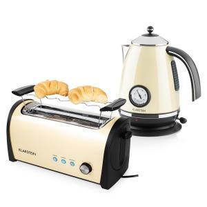 Cambridge Frühstücksset Creme 2200W Wasserkocher 1,7L 1400W Toaster