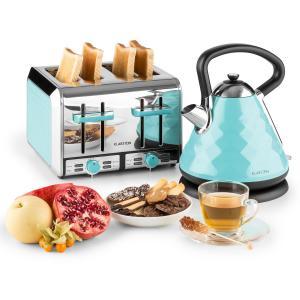 Curacao Azur Frühstücksset Wasserkocher 4 Scheiben Toaster blau