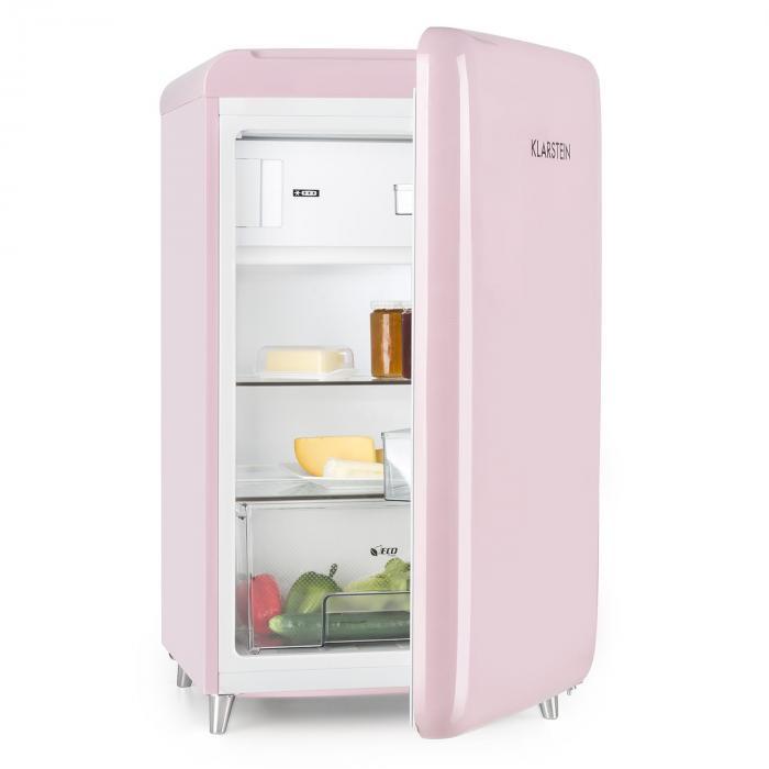 PopArt Pink Retro-Kühlschrank A++ 108 l / 13 l Gefrierfach pink ... | {Kühlschrank retro weiß 35}