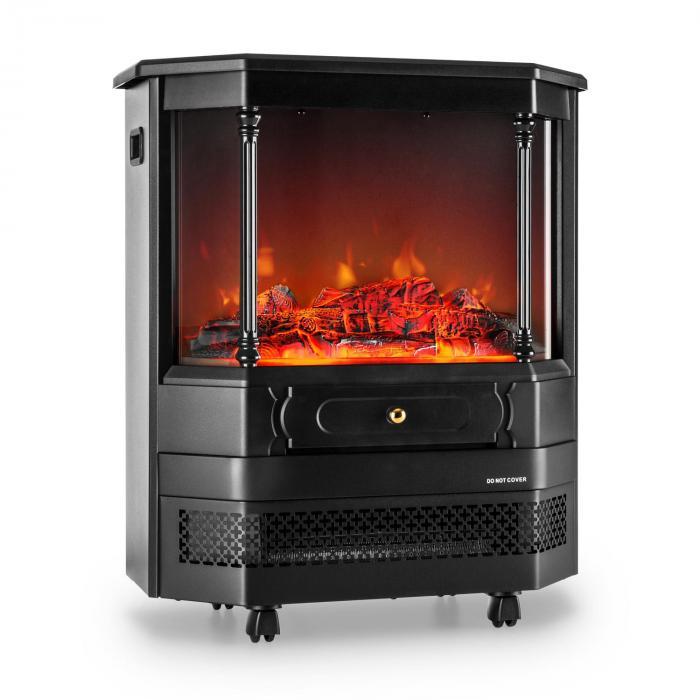 castillo elektrischer kamin halogen flammensimulation schwarz klarstein. Black Bedroom Furniture Sets. Home Design Ideas