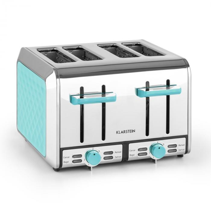 curacao azur toaster 4 scheiben edelstahl 1500 watt blau klarstein. Black Bedroom Furniture Sets. Home Design Ideas