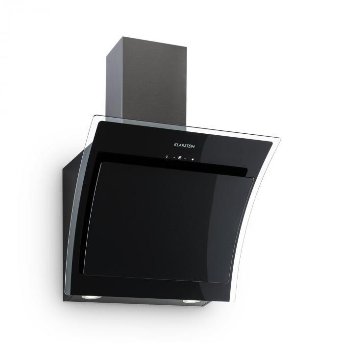 sabia dunstabzugshaube sicherheitsglas kopffrei 60cm wandanbau schwarz klarstein. Black Bedroom Furniture Sets. Home Design Ideas