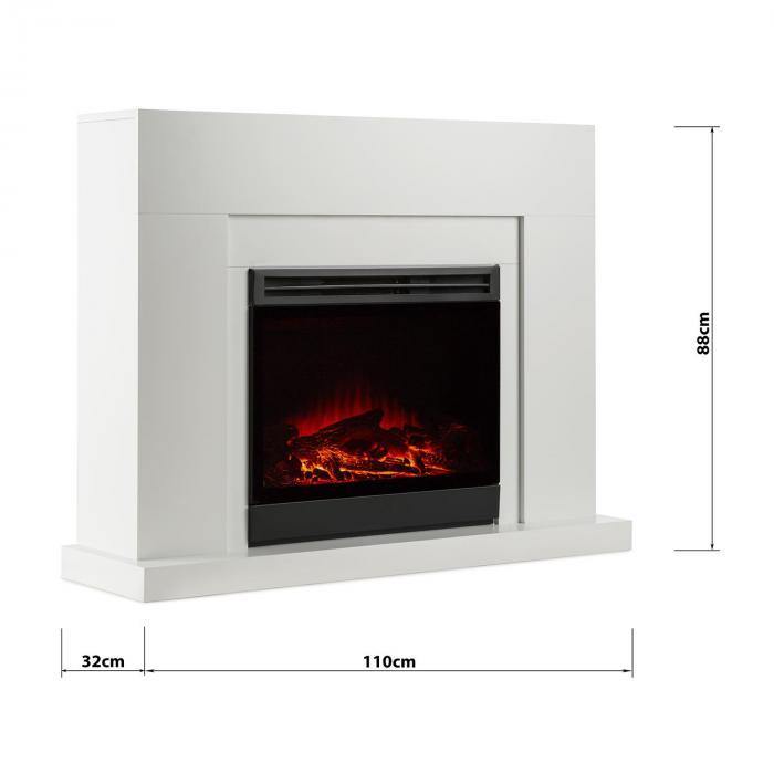 Blanca elektrischer kamin led flammensimulation 750 1500 w for Elektrischer kamin weiay