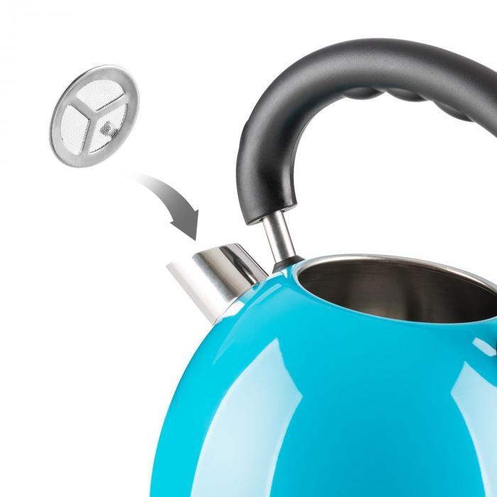 Teatime Wasserkocher Teekessel 1850 W 1,8 l Edelstahl blau  ~ Wasserkocher Blau