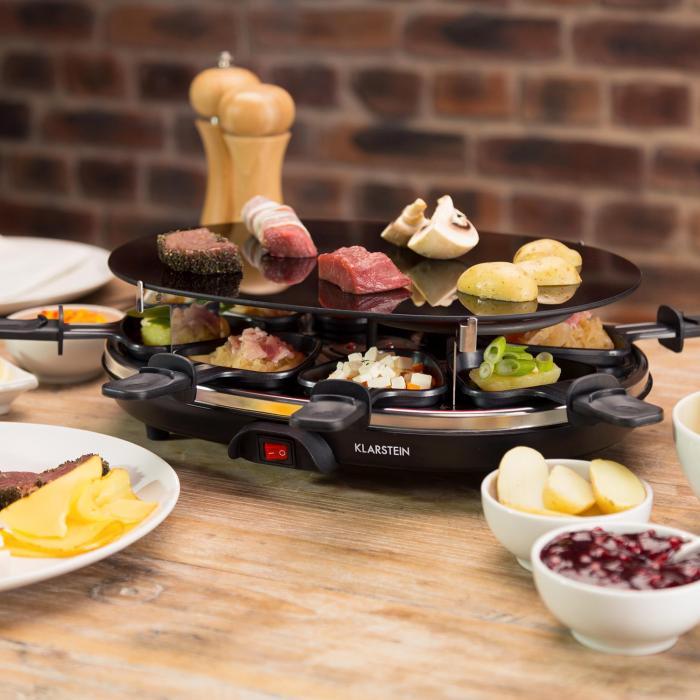blackjack raclette grill 8 personen glaskeramik edelstahl. Black Bedroom Furniture Sets. Home Design Ideas