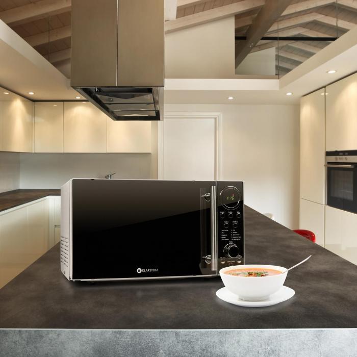 luminance prime mikrowelle mit grill 700w 20 liter edelstahl klarstein. Black Bedroom Furniture Sets. Home Design Ideas