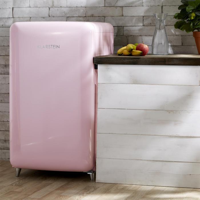 popart pink retro k hlschrank a 108 l 13 l gefrierfach pink rosa klarstein. Black Bedroom Furniture Sets. Home Design Ideas