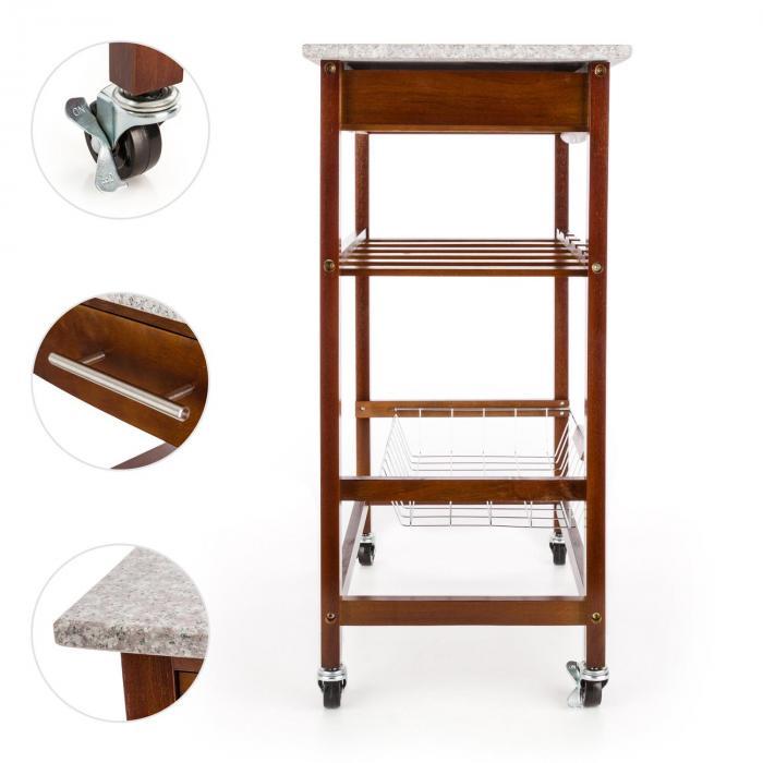 Zimmerservice Servierwagen Küchenwagen Weinregal Granit-Platte ... | {Küchenwagen mit granitplatte 43}