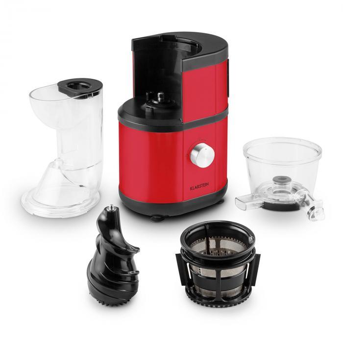 Klarstein Fruitberry Slow Juicer Entsafter : Fruitberry Slow Juicer 400W 60U/min Einfullrohr o 8,5cm Edelstahl rot Rot Klarstein